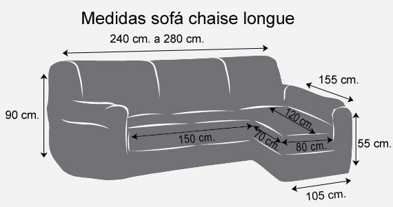 medidas funda sofa elastica chaiselongue