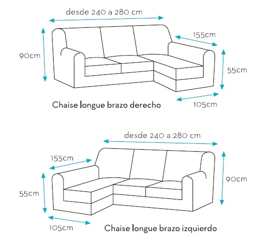Funda multielastica chaise longue viena textil del hogar for Medidas sofa cheslong